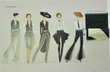 燕尾裙服装设计手绘图
