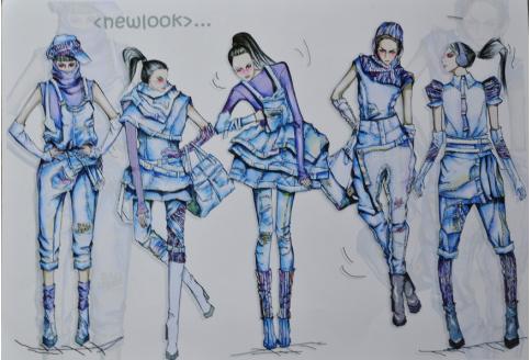 镂空服装手绘效果图